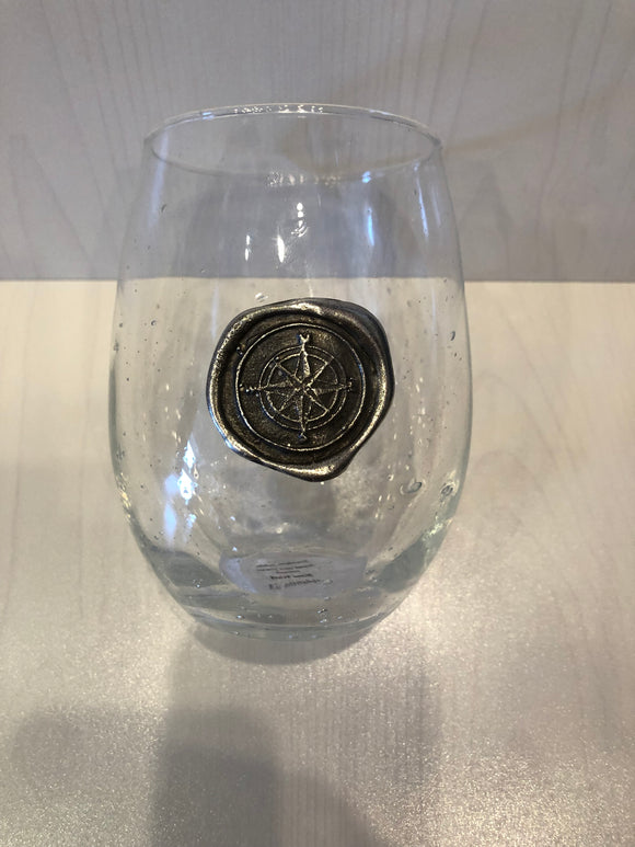 Compass Stamp Stemless Wine Glass
