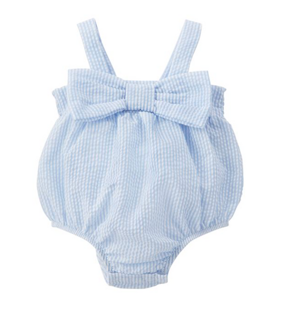 Seersucker Bow Infant Onesie