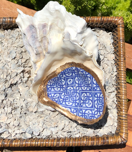 Mosaic Design Hand Painted Oyster Shell