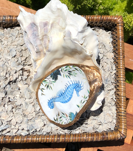 Sea Horse Hand Painted Oyster Shell