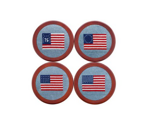 American Flags Needlepoint Coasters
