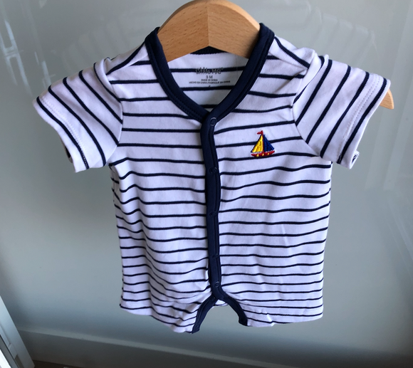 Sailboat Striped Infant Onesie