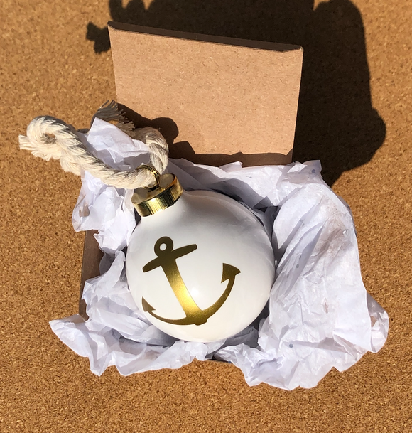Gold Anchor Ornament