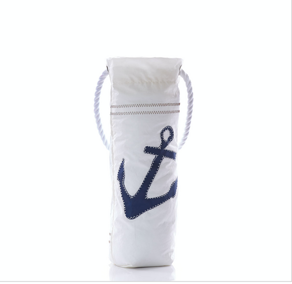 Navy Anchor Wine Bag