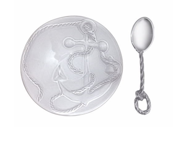 Anchor Ceramic Nut Dish with Rope Spoon