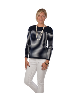 Boatneck Striped Cashmere Ladies Sweater