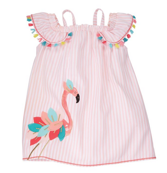 Flamingo Stripes Toddler Dress
