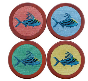 Roosterfish Needlepoint Coasters