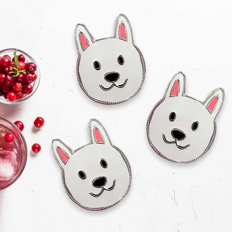 Pack of 4 Handmade Beverage Dog Coasters