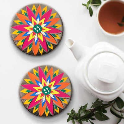 Handmade Pack of 6 Truck Art Themed Flower Coaster Set