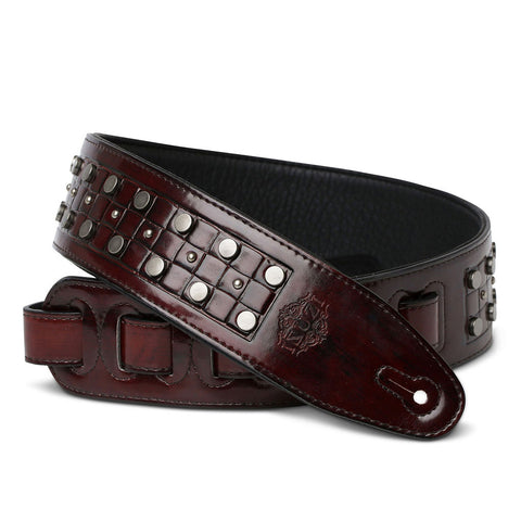 ISUZI DLX21-1 Garment Leather Guitar Strap Red/Brown