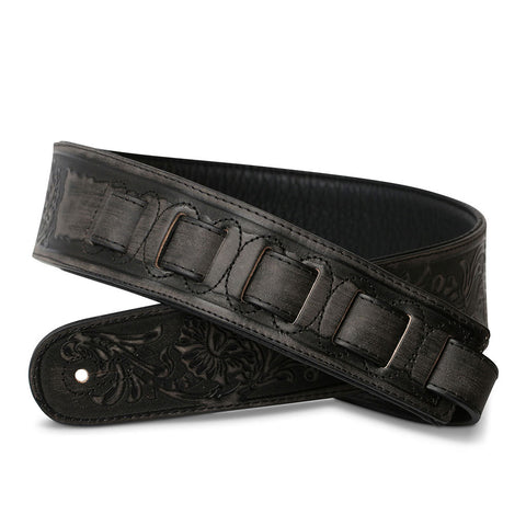 ISUZI LIF02 Coal Black Leather Guitar Strap