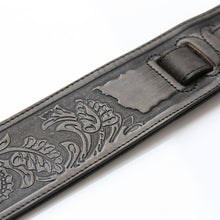 Load image into Gallery viewer, ISUZI LIF02 Coal Black Leather Guitar Strap