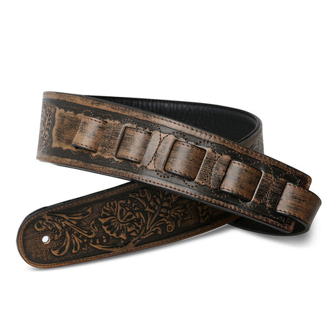 ISUZI LIF03 Tan Leather guitar strap