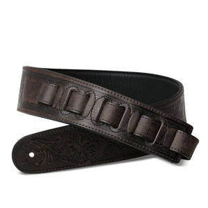 ISUZI LIF05 Dark Brown Leather Guitar Strap