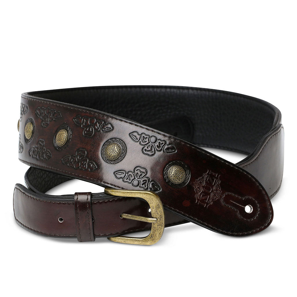 ISUZI VPB20-3 Dark Red Leather Guitar Strap