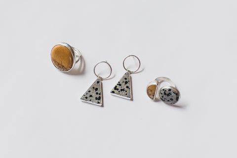 Dalmatian Stone & Owyhee Jasper jewelry by Knuckle Kiss