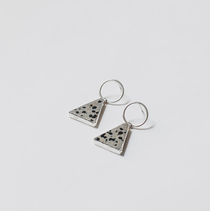 Appex Dalmatian stone triangle earrings by Knuckle Kiss