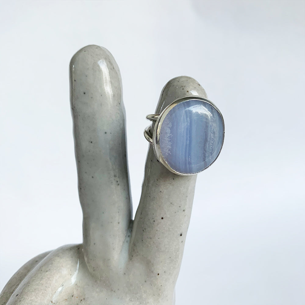 Blue Lace Agate Stone Cocktail Ring, Size 7.5
