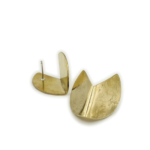 Brass dimensional Shift earrings by Knuckle Kiss