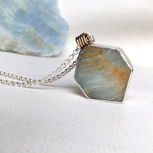 CARIBBEAN CALCITE  STERLING SILVER GEO NECKLACE