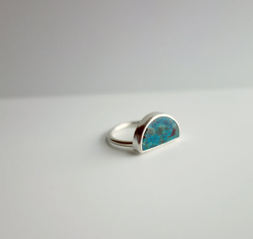 Chrysocolla Blue Half Moon Handcut Stone Ring by Knucklekiss