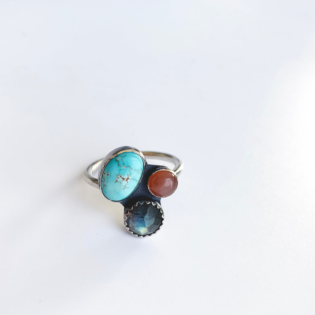 Multi-stone Cluster Ring with Royston Turquoise, Labradorite & Peach Moonstone, Size 9