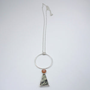 Chinese Writing Stone & Peach Moonstone Connie Necklace