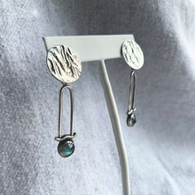 STERLING SILVER AND LABRADORITE PENDULUM EARRINGS (2020 VOL.1)