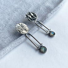 STERLING SILVER AND LABRADORITE PENDULUM EARRINGS
