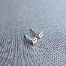 Dainty sterling silver open square stud earrings by Knucklekiss