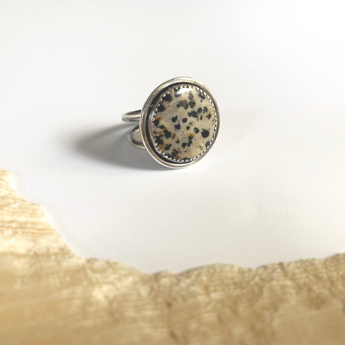 Dalmatian Stone Cocktail Ring, Size 8.5-9