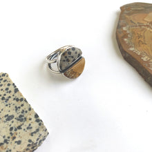 Dalmatian Stone and Owyhee Jasper Double Half Moon Ring
