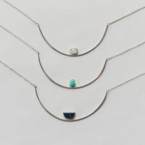 Genuine stone sterling silver collar necklaces by Knuckle Kiss