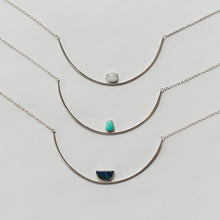 Knuckle Kiss sterling silver Gemma Necklaces in turquoise, moonstone, and lapis