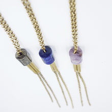 Long lariat style Tubular Necklace with pyrite, lapis, and amethyst by Knuckle Kiss