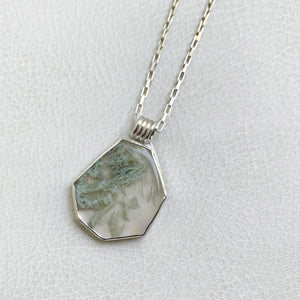 Light Moss Agate Geo Necklace