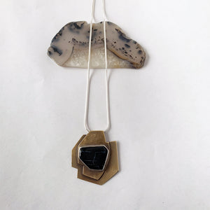 Geometric Onyx Brass & Silver Necklace