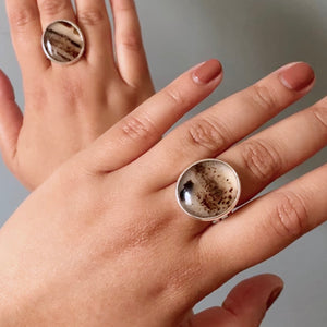 Montana Agate Stone Cocktail Ring, Size 6.5-7