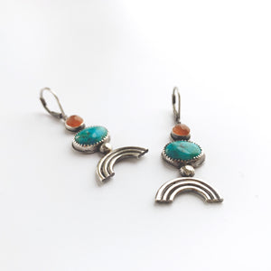 Turquoise and peach moonstone dangle earrings with sterling silver rainbow. By Knuckle Kiss Jewelry.