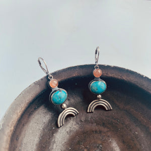 Knuckle Kiss Sterling silver Rainbow Dangle Earrings with Turquoise and peach moonstone