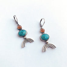 Turquoise and peach moonstone earrings with rainbow detail in sterling silver. By Knuckle Kiss Jewelry.