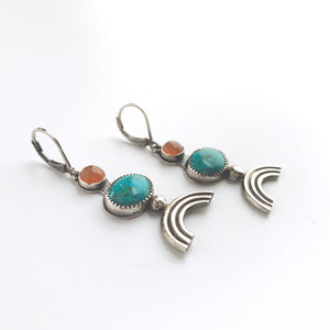 Knuckle Kiss sterling silver rainbow earrings with turquoise and peach moonstone