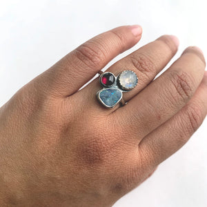 Multi-gemstone cluster ring with australian opal, rainbow moonstone, and garnet by Knucklekiss