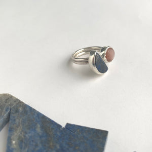 half moon lapis and peach moonstone sterling silver split ring by Knucklekiss