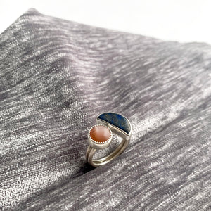 Hand lapped lapis and peach moonstone open front ring by knucklekiss