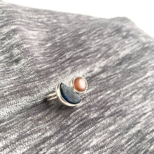 Hand lapped lapis and peach moonstone split ring by knucklekiss