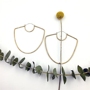 Large brass Vessel Hoop Earrings by Knucklekiss
