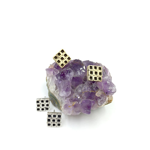 Geometric Nine Square stud earrings by Knuckle Kiss