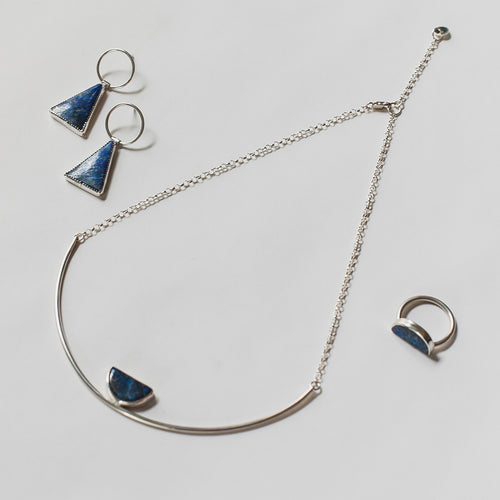 Knuckle Kiss Lapis halfmoon collar necklace